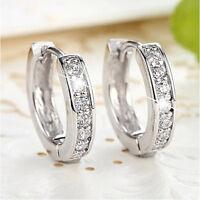 Silver Women Round Crystal Hoop Ear Stud Earrings Wedding Bridal Jewelry Gifts