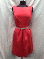 "ELLEN TRACY DRESS/CORAL/SIZE 6/COTTON DRESS/LINED/RETAIL$99/LENGTH 36"""