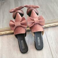 Womens Bowknot Slip On Mules Slippers Loafers Flat Pointy Toe Shoes Pump Sandals