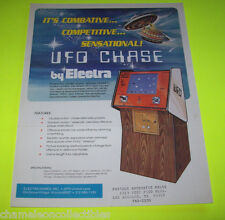 UFO CHASE By ELECTRA GAMES INC. ORIGINAL VIDEO ARCADE GAME SALES FLYER BROCHURE