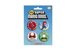 Blister de 4 Badges Nintendo Super Mario Officiels Super mario bros badge pack