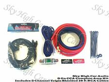 Oversized 8 Ga AWG Amp Kit Triple Shield RCA Red Black Complete Sky High Car
