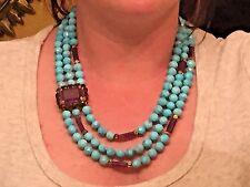 "Bounkit Amethyst, Turquoise, and Smoky Quartz Multi-strand Necklace, 20"" length"
