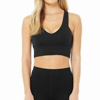 Alo Women's Sports Bra Deep Black Size XS V-Neck Yoga Stretch Solid $79 #244