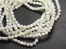 Fil 39cm 65pc env - Perles de Nacre blanche irisée Boules 6mm