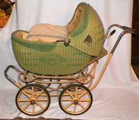 Vintage Wicker Doll Carriage Buggy Green Child's Toy 1930s