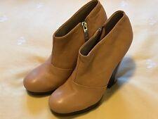MATIKO Women's Wedge Leather Ankle BOOTIE Shoe Peach Beige Zip Sz 9