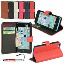 Synthetic Leather Mobile Phone Wallet Cases for iPhone 5c with Card Pocket