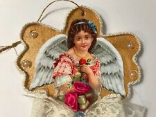 Angel Christmas ornament, handcrafted on wood, Vintage image, item #1A wood