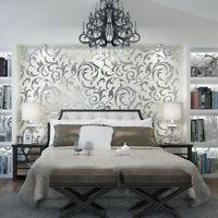 Home Art Decor Silver 3D Damask Embossed Wallpaper Rolls Living Room Sticker 10M