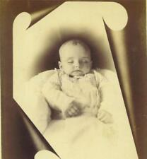 CABINET CARD PHOTO: Dear POST MORTEM INFANT within PHOTOGRAPHER'S Memorial MASK
