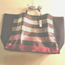 Purse Victoria Secret 2 piece Large Tote Shoulder Bag Cosmetic Bag Sequin Stripe