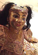 Rare Antique/VTG PUPPET-Marionette Thai Child Royalty GOLD LEAF Ornate