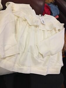 Gymboree NWT Sz 7/8 Ivory Top Lined LS