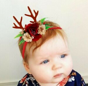 Baby Christmas Floral Reindeer Antler Headband - fits baby to 8 years old