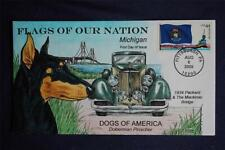 Flags of Our Nation FDC HP Collins#Z4426 Sc#4298 Michigan Doberman Pinscher