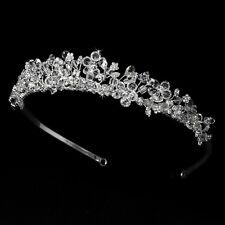 Bridal Tiara w/ Swarovski & Rhinestones Flower Design for Bridal Wedding