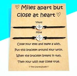 Set Of 2 Long Distance Relationship Travel Wish Bracelet Friendship Going Away