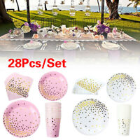 28pcs/Set Disposable Tableware Paper Plate Dish Dinner Cake Wedding Party Supply