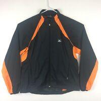 MIZUNO Womens Full Zip Athletic Jacket Black Orange XL