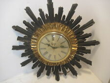 OLD VINTAGE SYROCO RETRO WALL HANGING CLOCK SUNBURST MID-CENTURY ELECTRIC