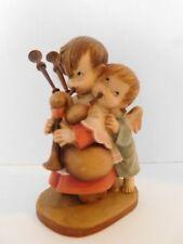 "Anri wood carving HELPER w angel & bagpipes by Spanish artist Ferrandiz, 6"""