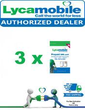 3 x Lycamobile Triple-Cut Sim Cards For Motorola Phones