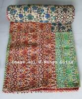 Patchwork Vintage Kantha Quilt Ralli Bedspread Reversible Indian Sari Throw Twin