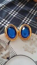 Faux Sapphire Post Earrings . Vintage Style Gold Tone &