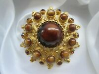 Vintage Jewellery Tigers Eye  & Topaz Glass Gold Tone Metal Flower Brooch Pin