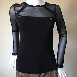 Roberto Cavalli Vintage Black Mesh Sleeves Top