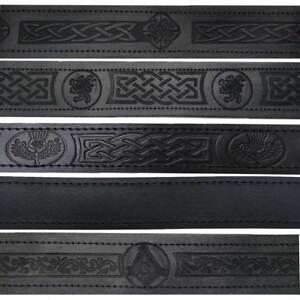 ST Scottish Kilt Belt Buckle Genuine Real Leather Black Embossed Various Styles