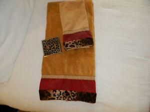 Gold & Burgundy Leopard Print Bath Towel, Hand Towel & 2-Light Switch Cover