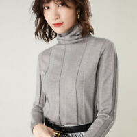 Woman Turtleneck 100% Cashmere Sweater Knitted Pullover High Quality Warm Winter