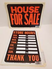 "Lot of 9 pcs Signs Plastic 12"" x 8"" ""House for Sale""(3) & ""Store Hours""(6)"