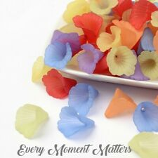 20 x LUCITE ACRYLIC FROSTED LILY TRUMPET FLOWER BEADS 18mm x 20mm ANGEL/FAIRY