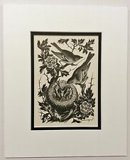 PARKER Chaffinches on Hawthorn Litho of Wood Engraving 1936