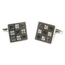 BLACK & Clear Crystal Silver Gemelli Quadrati con Sacchetto Regalo DIAMANTI presenti