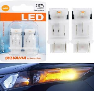Sylvania LED Light 3157 Amber Orange Two Bulbs Front Turn Signal Replace Upgrade
