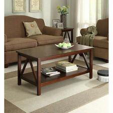 Rustic Coffee Table With Shelf Living Room Wooden Accent Lake House Farmhouse