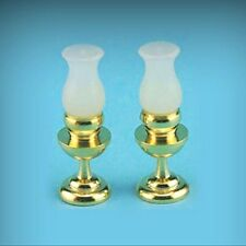 Dollhouse miniature hurricane lamp pair, non-wired by International Miniatures