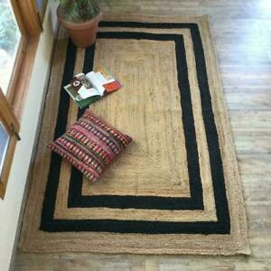 Natural Jute With Black Line 100% Handmade Rectangle Home Decorative Look Rug