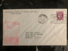 1939 Marseille France First Flight Airmail Cover FFC to Usa Via Portugal