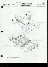 Original Factory Delta 34-985 & 34-995 Stockfeeders Parts List Manual SF-1