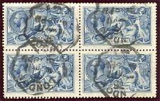 RARE 1915 De La Rue 10/- blue very fine used block x4 - London rubber ds. SG 412