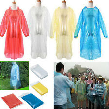 10x Disposable Raincoat Waterproof Emergency Poncho Adult Camping Outdoor Events