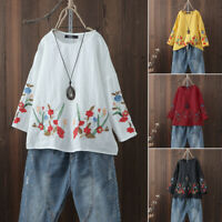 Women's Cotton Embroidered Crochet Blouse Jumper Oversize Loose Shirt Tops Plus