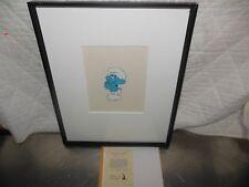 Smurfs original production animation Cel Framed and Matted Hanna Barbera 1980s