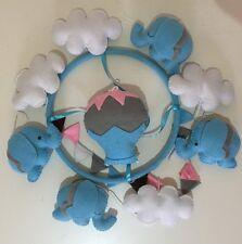 Baby Mobile Cot Crib nursery decor handmade - Blue Elephants