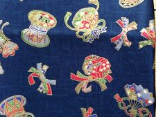 Japanese Cotton Fabric for Quilt  Traditional Drum Blue W/Gold Trim 1/2 yard